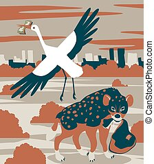 Hyena and stork - Concept vector illustration of corruption...