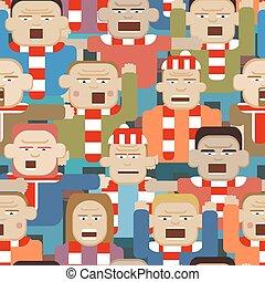 Sports crowd seamless tile - Vector seamless tile...