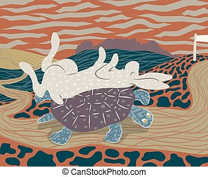 Tortoise and smarter hare - Vector illustration of a hare...