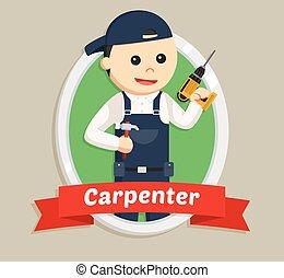 carpenter in emblem illustration design