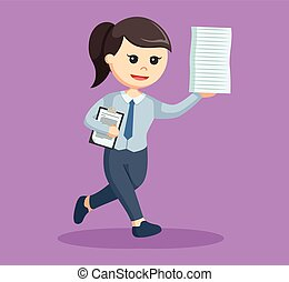 business woman running with document
