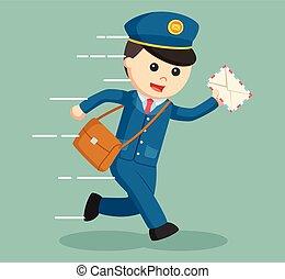 postman running delivering letter