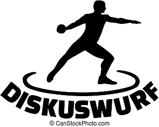 Athlete throwing discus with german word