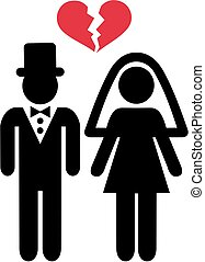 Divorced wedding couple symbol