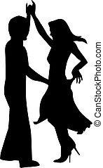 Silhouette of happy couple dancing
