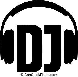 DJ word with headphones