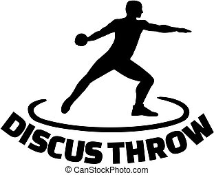 Athlete throwing discus with word