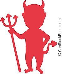 Devil silhouette with trident