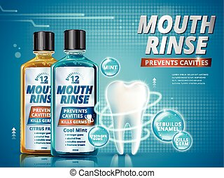 Mouth rinse ads, refreshing mouthwash products in different...