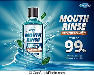 Mouth rinse ads, refreshing mouthwash product with splashing...