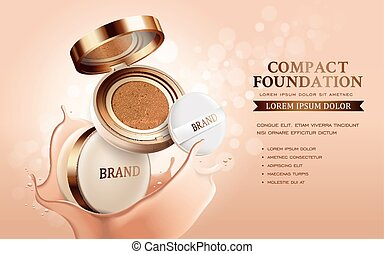 Compact foundation ads, attractive makeup essential product...