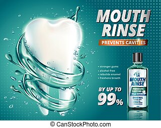 Mouth rinse ads, refreshing mouthwash product with giant...