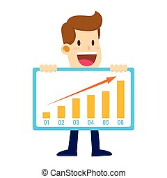 Businessman Holding Profit Sales Chart, Success Concept