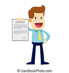 Businessman Showing Signed Contract With a Happy Face