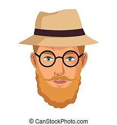 portrait man blond bearded gentle hat glasses blue eyes