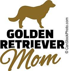 Golden retriever Mom with dog silhouette