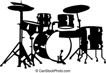 Drum set with drums and percussion instruments