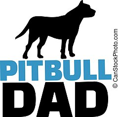 Pit bull dad with dog silhouette