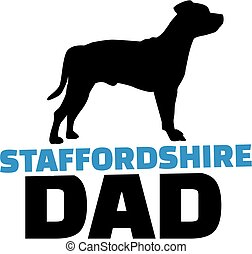 Staffordshire Bull Terrier dad with dog silhouette
