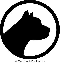 Pit bull head silhouette in circle