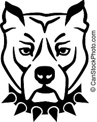 Pit bull head with collar