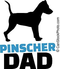 Pinscher dad with dog silhouette