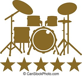 Drum Kit with five golden stars