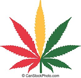 Marijuana hemp leaf jamaica flag