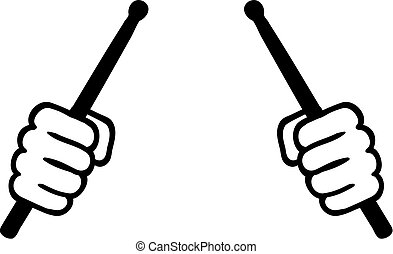 Two hands with drum sticks