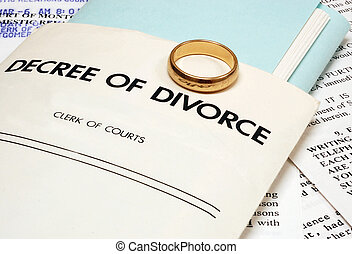 Divorce decree and wedding ring