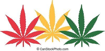 Three Marijuana hemp leafes