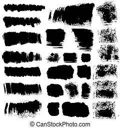 vector ink brush stains set
