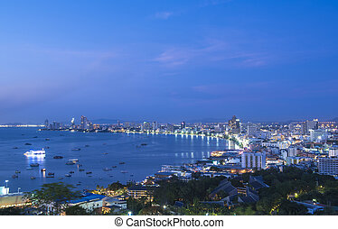 View Point Pattaya - View Point in Pattaya during twilight.,...
