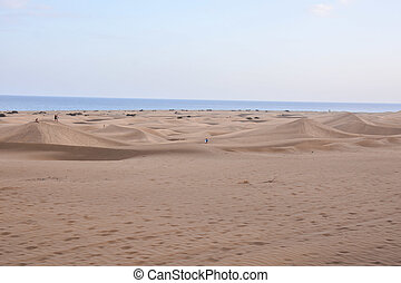 Desert with sand dunes in Gran Canaria Spain - Desert with...