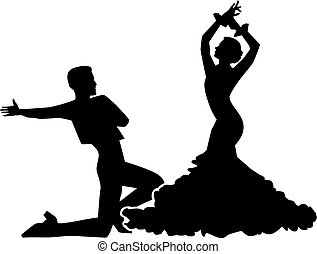 Silhouette of flamenco dancing couple