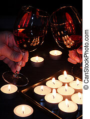 Red Wine Glasses in Toast