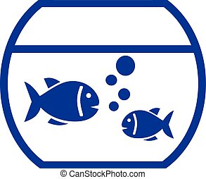 Fishbowl with fish - Fishbowl vector with two fishes and...