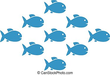 Fish shoal with nine fishes