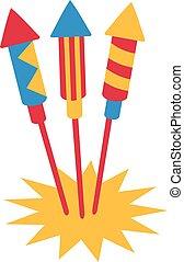 Three firework rockets