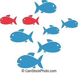 Group of fishes in blue an red - Fish shoal with blue and...