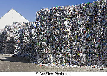 Plastic recycling - Bales of mixed plastic collected for...