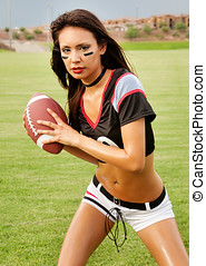 Young sexy American Football Woman - Beautiful young woman...