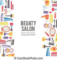 Beauty store background. Vector. Hand drawn isolated objects...