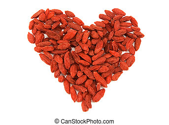 Red tibetan goji berries heart - Red dried goji berries...