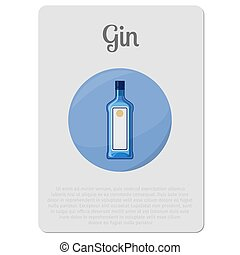 Gin alcohol sticker with bottle - Gin alcohol. Sticker with...