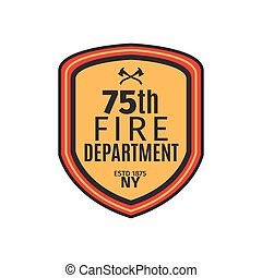 Fire department badge with shield, isolated vector...