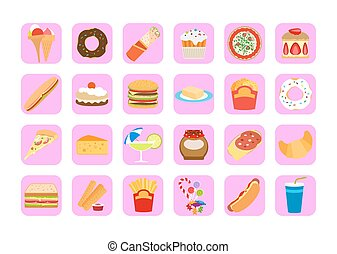 Sweets and fatty food icons - Sweets icons. Fatty food...