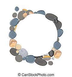 Round frame with realistic river stones