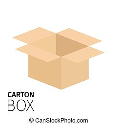Carton opened square box pack. Vector flat item isolated on...