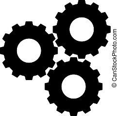 Gear wheels triple icon